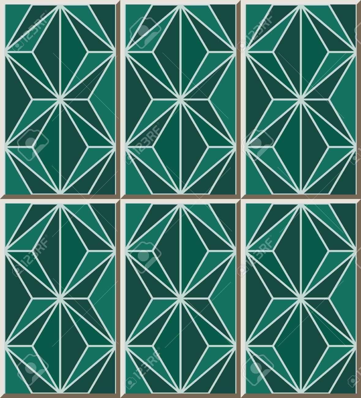 Ceramic Tile Pattern 314_green Mosaic Polygon Cross Line Royalty ...