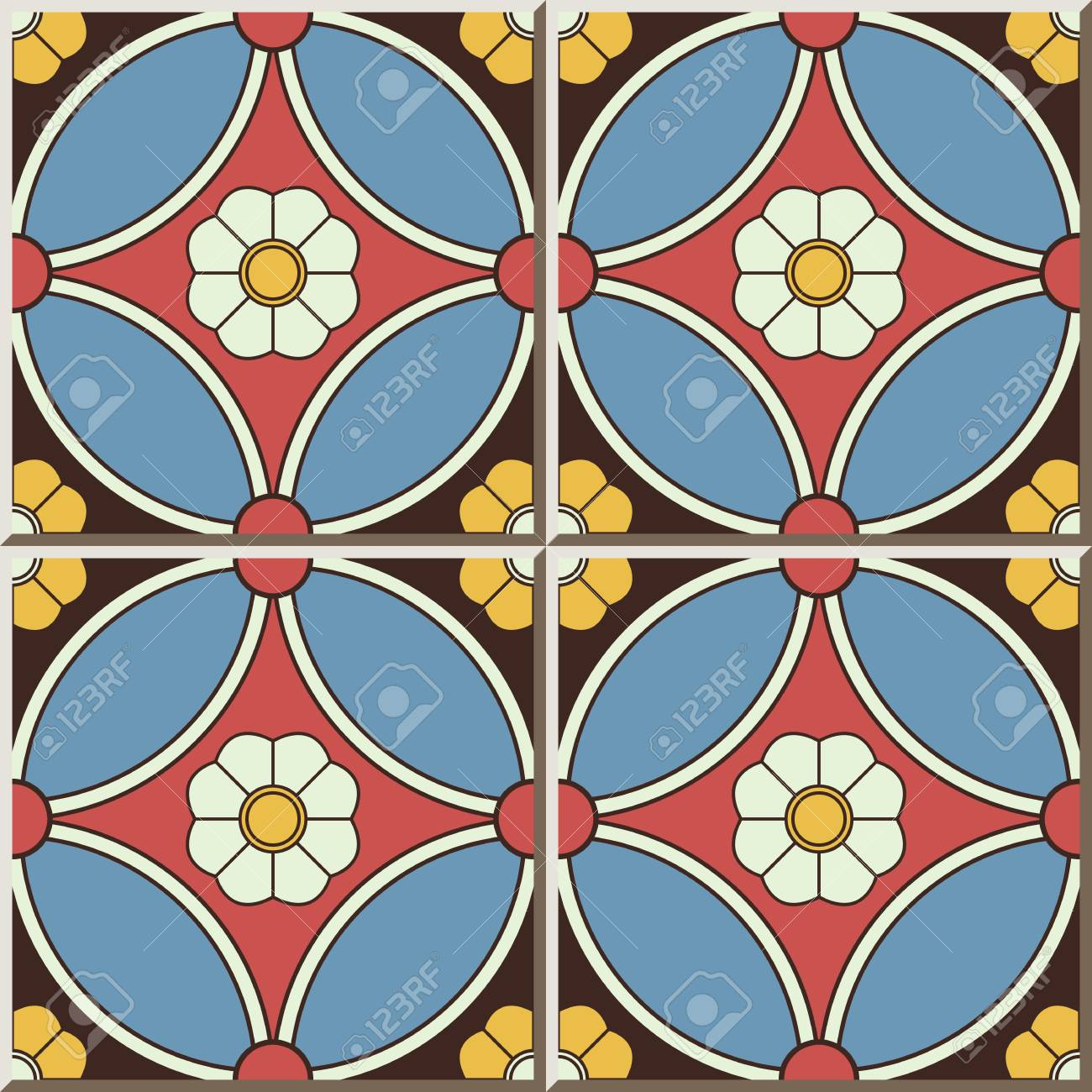 Ceramic Tile Pattern 431 Round Cross Frame Flower Royalty Free ...