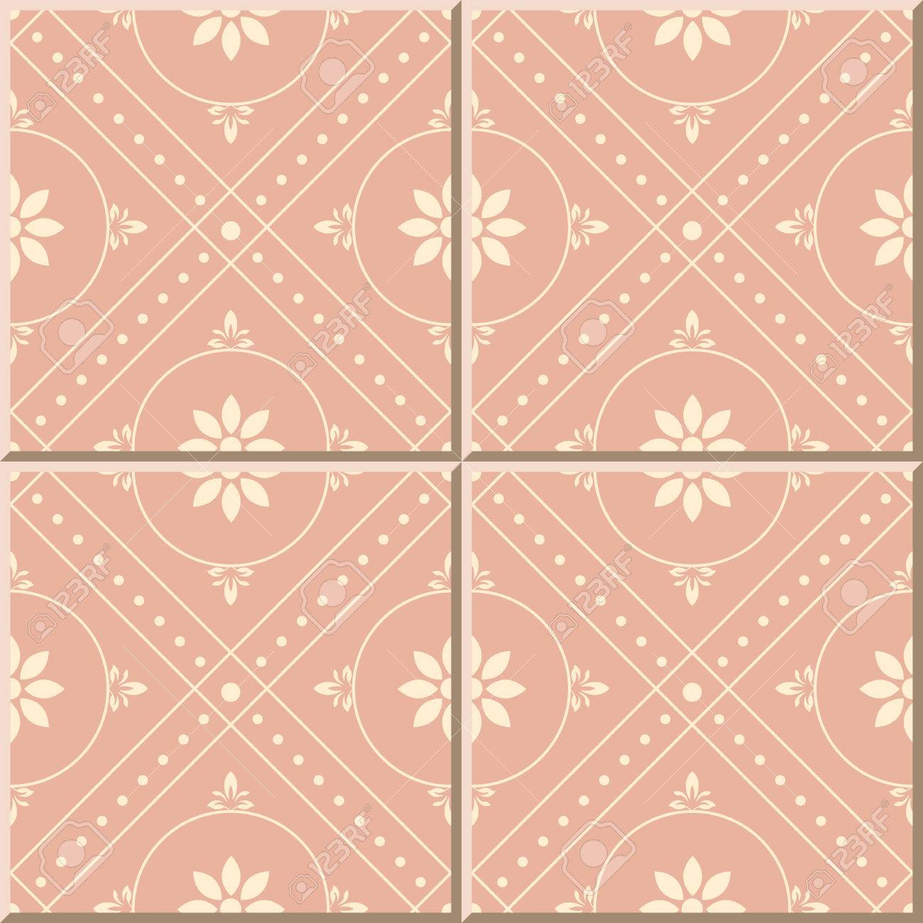 ceramic tile pattern 475 pink round check dot line flower royalty