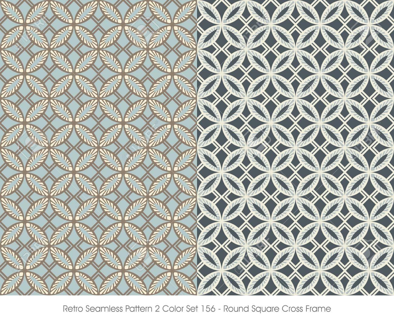 Retro Seamless Pattern 2 Farbe Set_156 Runde Quadratische Kreuz ...