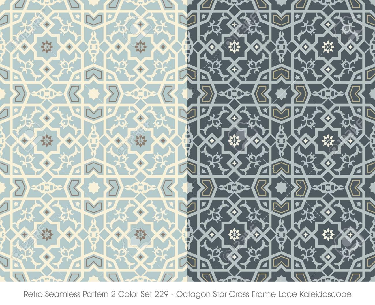 Retro Seamless Pattern 2 Farbe Set_229 Octagon Stern Kreuz Rahmen ...