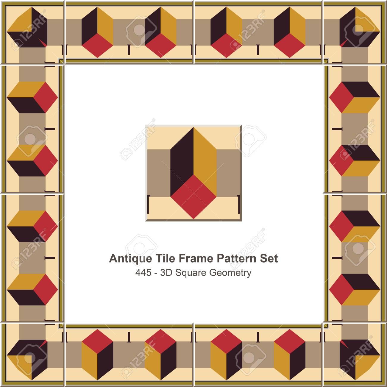 Antike Fliesen Rahmen Muster Set_445 3D Quadrat Geometrie Lizenzfrei ...