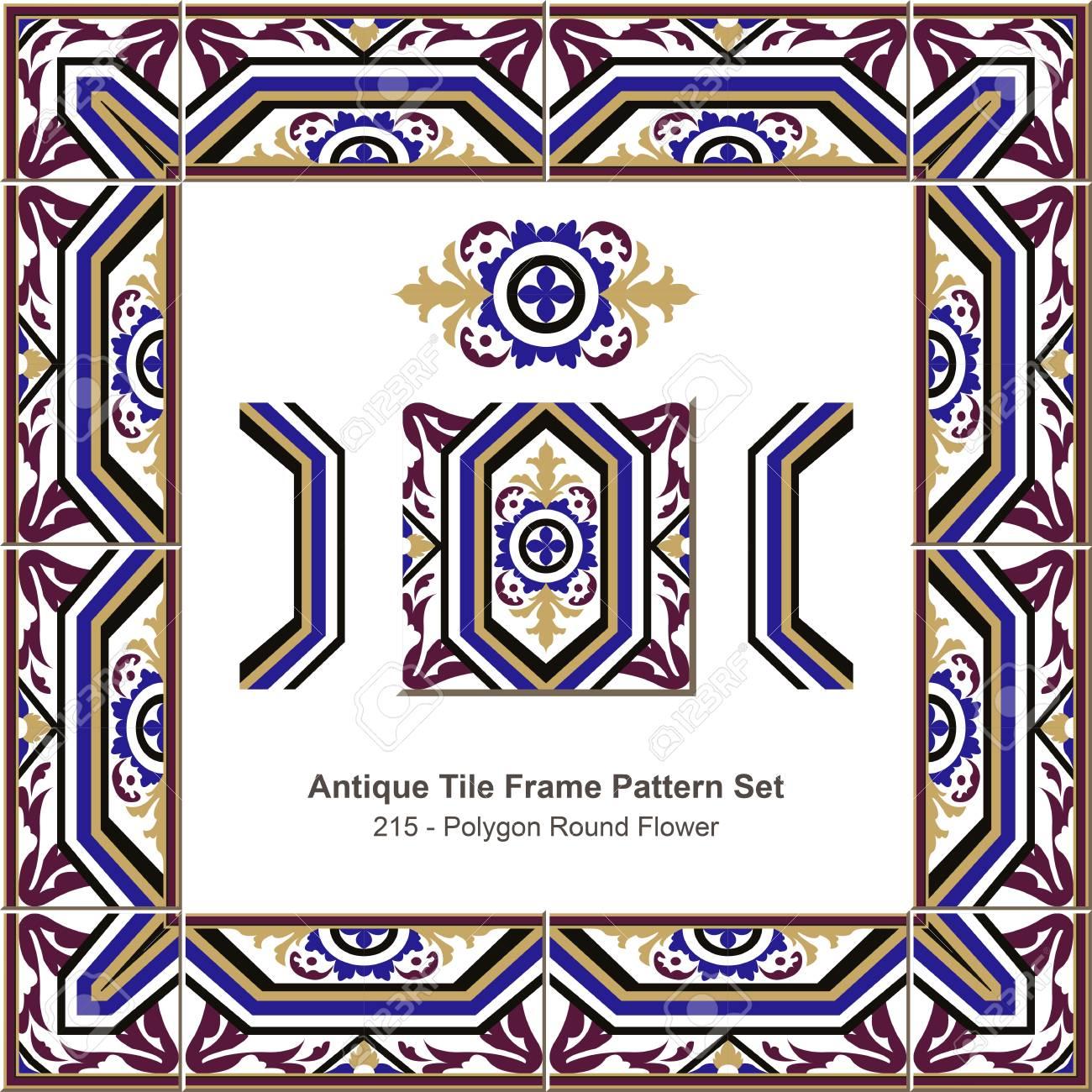 Antike Fliesen Rahmen Muster Set 215 Polygon Runde Blume Lizenzfrei