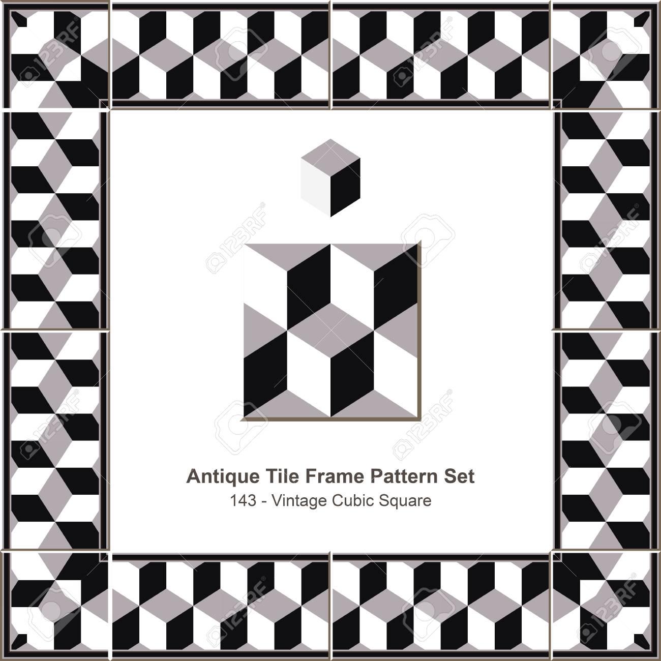 Antike Fliesen Rahmen Muster Set 143 Vintage Cubic Square Lizenzfrei