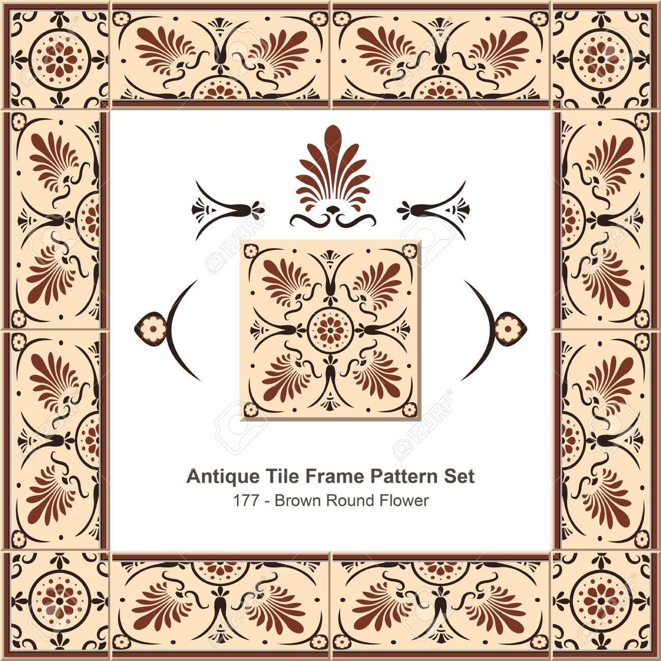 Antike Fliesen Rahmen Muster Set_177 Braun Runde Blume Standard Bild    66393829