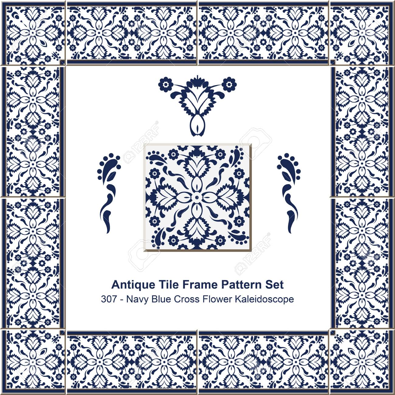 Antique Tile Frame Pattern Set_307 Navy Blue Cross Flower ...