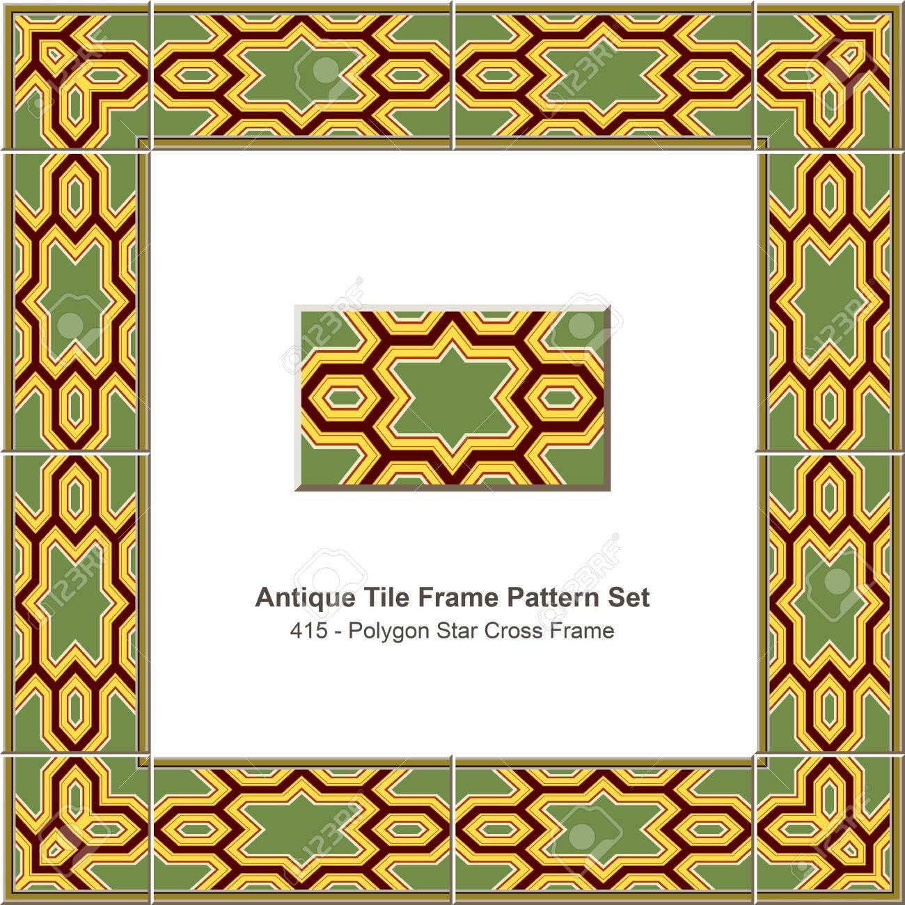 Antikes Fliesenrahmenmuster Set_415 Polygon-Stern-Kreuz-Rahmen ...