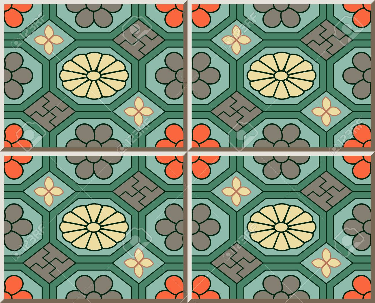 Ceramic tile pattern retro green oriental octagon check cross ceramic tile pattern retro green oriental octagon check cross frame flower stock vector 77883022 dailygadgetfo Image collections