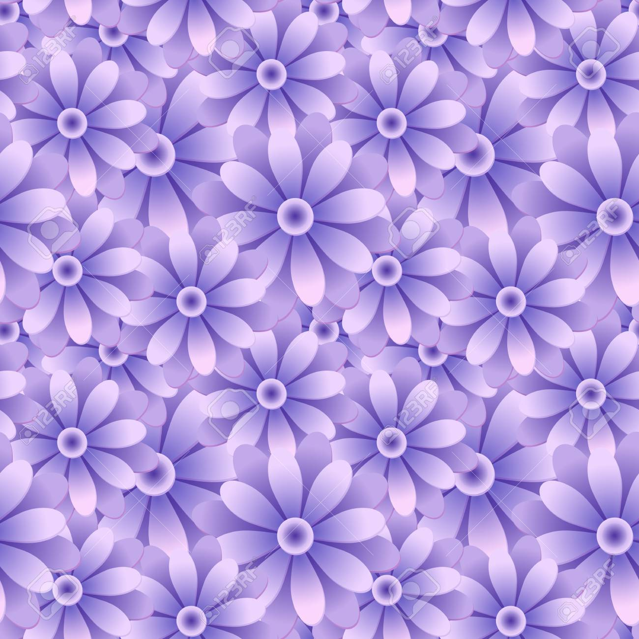 Retro Seamless Wallpaper Background Vintage Purple Blue Round Daisy Garden Flower Stock Vector