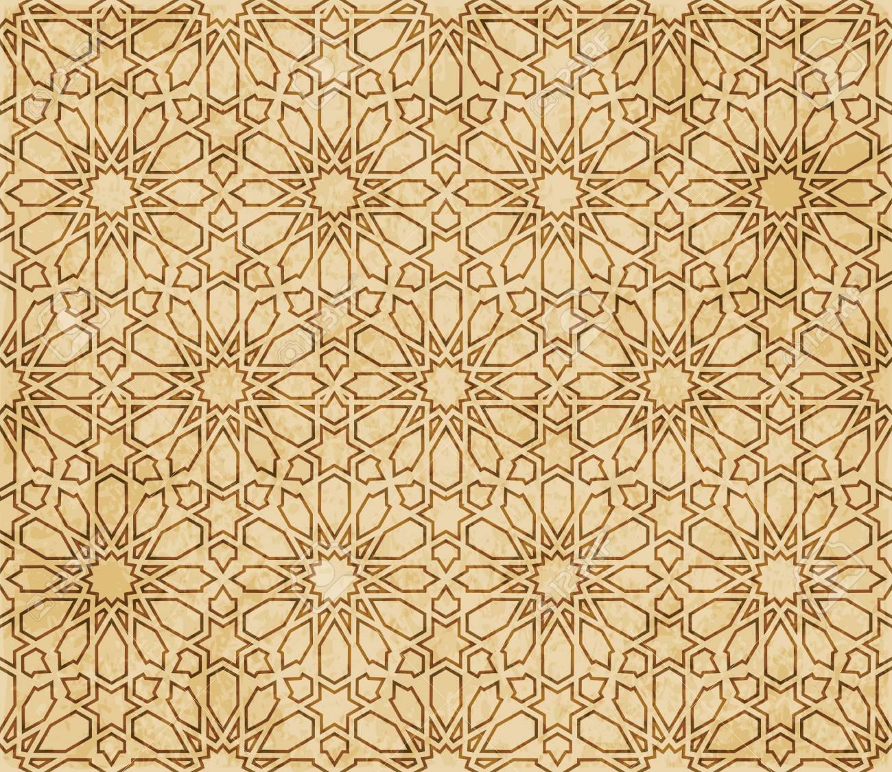 Retro brown Islam seamless geometry pattern background eastern