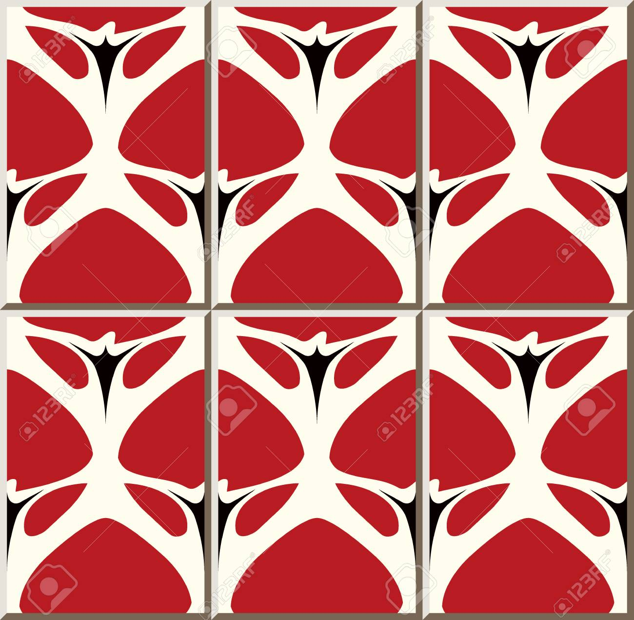 Ceramic Tile Pattern Curve Cross Garden Red Flower Oriental Royalty Free Cliparts Vectors And Stock Illustration Image 102102163