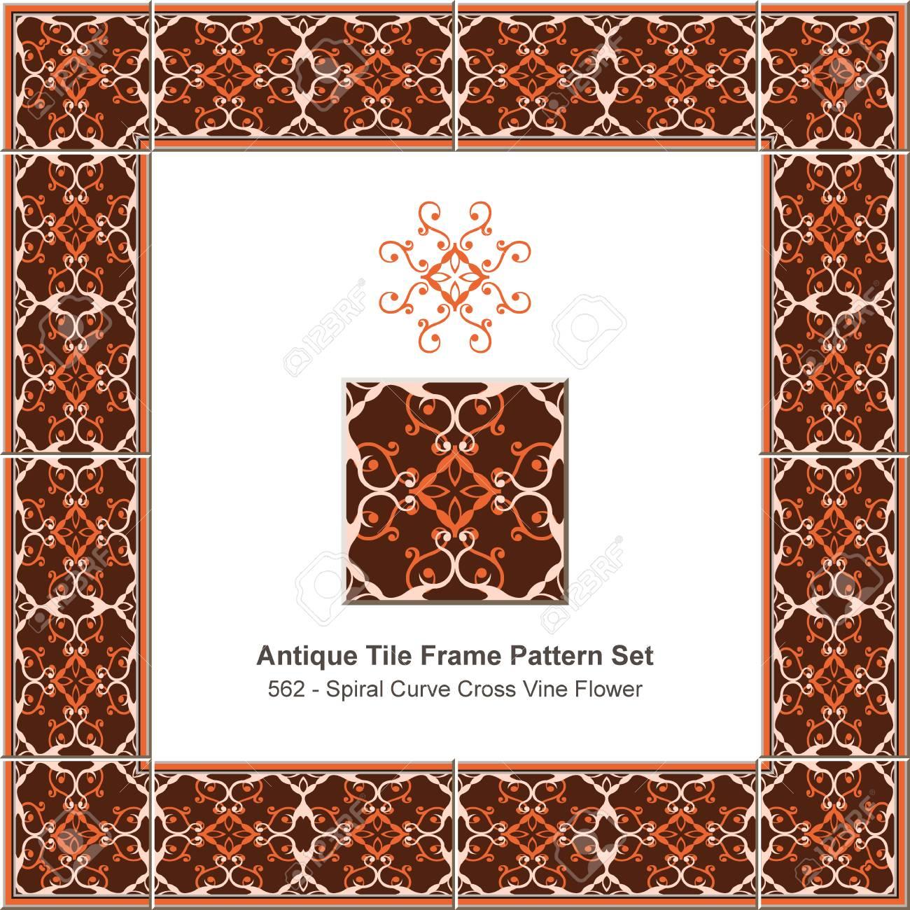 Antique Tile Frame Pattern Set Spiral Curve Cross Vine Flower ...