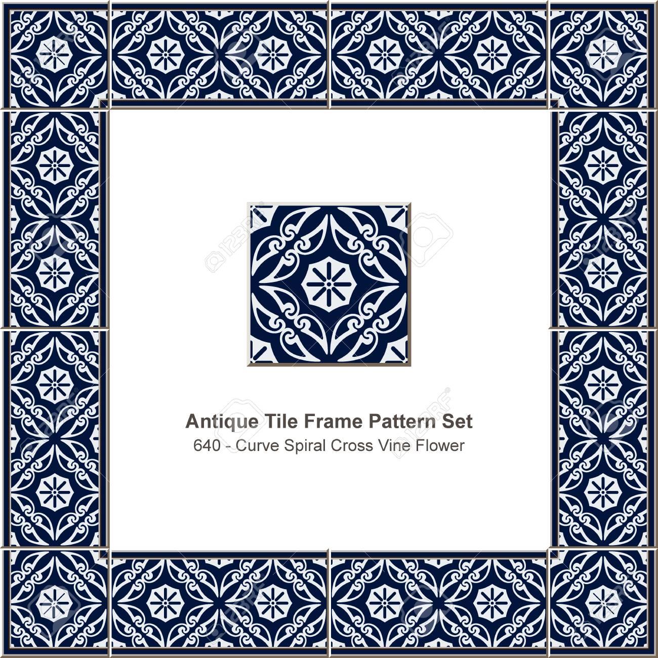 Antique Tile Frame Pattern Set Curve Spiral Cross Vine Flower ...