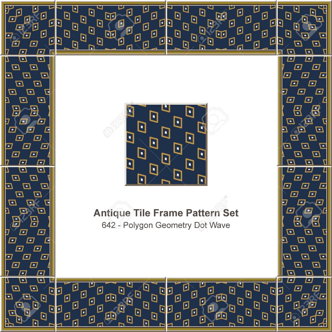 Antique Tile Frame Pattern Set Polygon Check Geometry Dot Wave ...