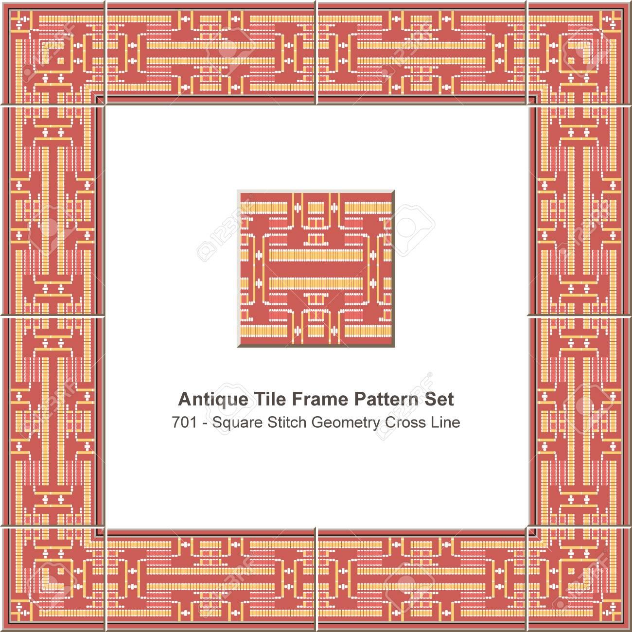 Antique Tile Frame Pattern Set Square Stitch Geometry Cross Line ...