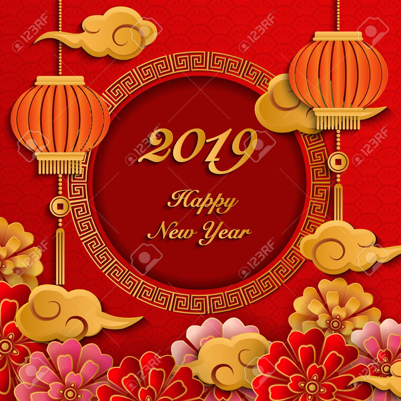 Happy 2019 Chinese New Year Retro Gold Paper Cut Art And Craft