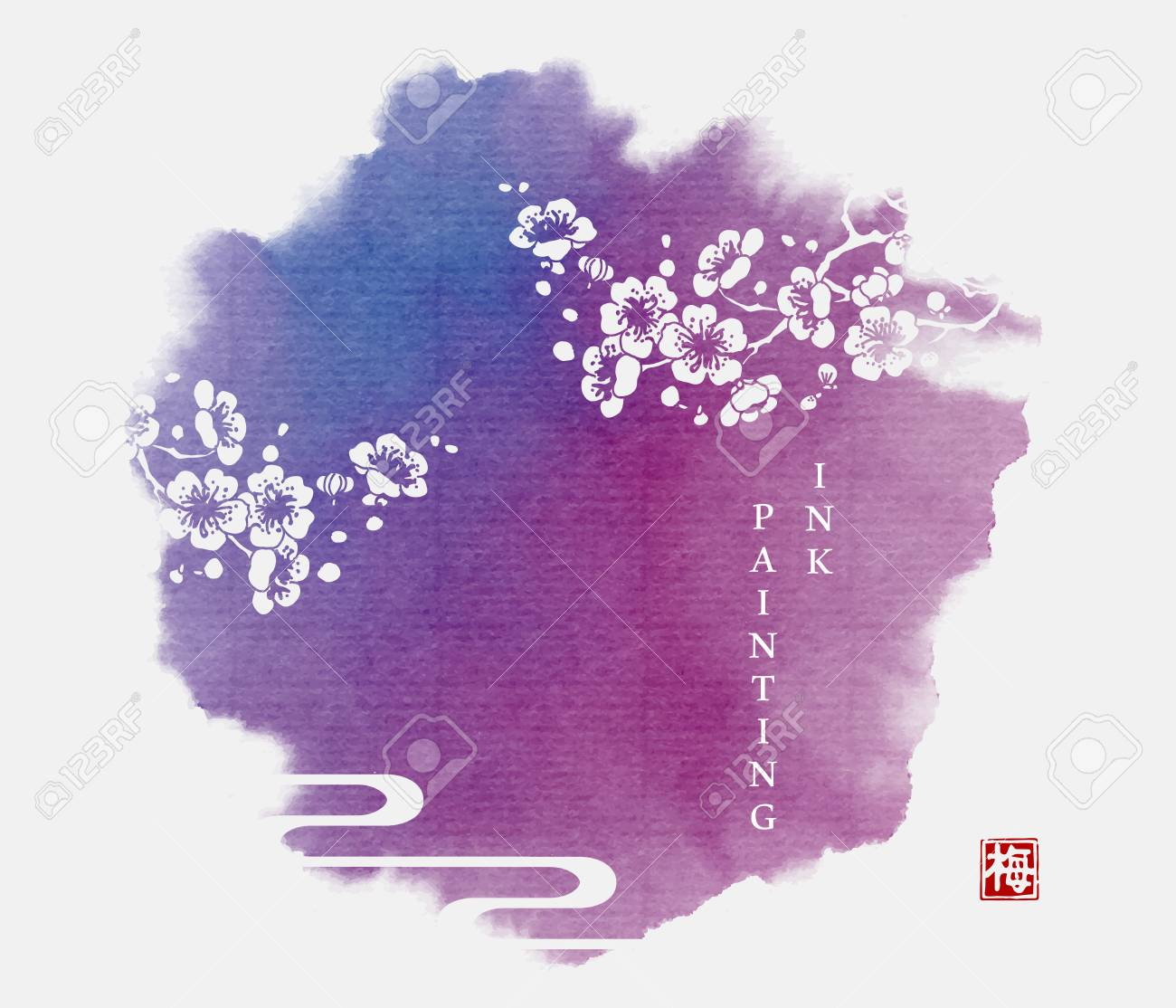 Watercolor ink paint art vector texture illustration plum blossom with purple background. Translation for the Chinese word : Plum flower - 124822379