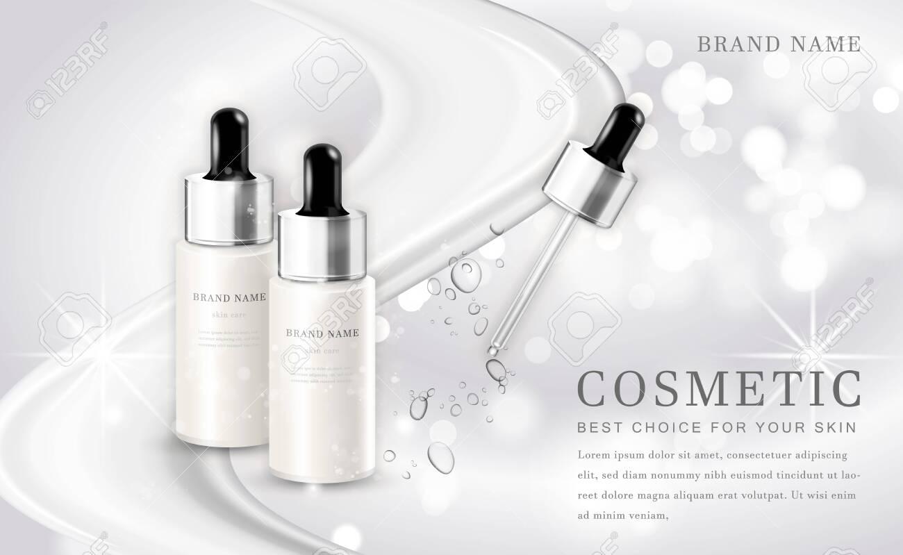 Vector 3D cosmetic make up illustration product bottle with elegant white shiny background - 142680859