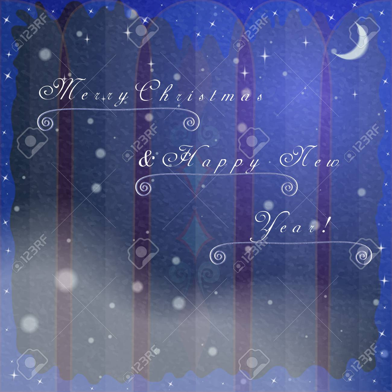 Christmas Greeting Cards Background With Frozen Winter Arch Window ...