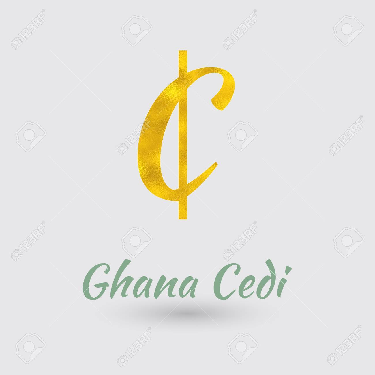 Symbol Of The Ghana Cedi Currency With Golden Texture Text With