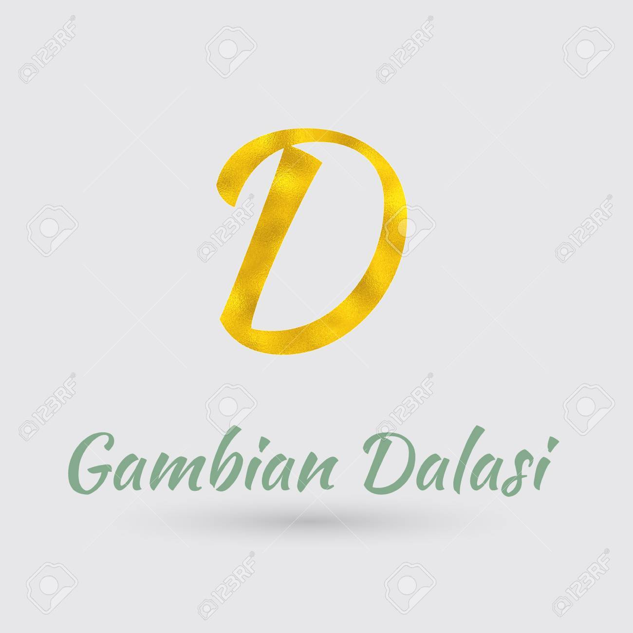 Symbol Of The Gambian Dalasi Currency With Golden Texture Text