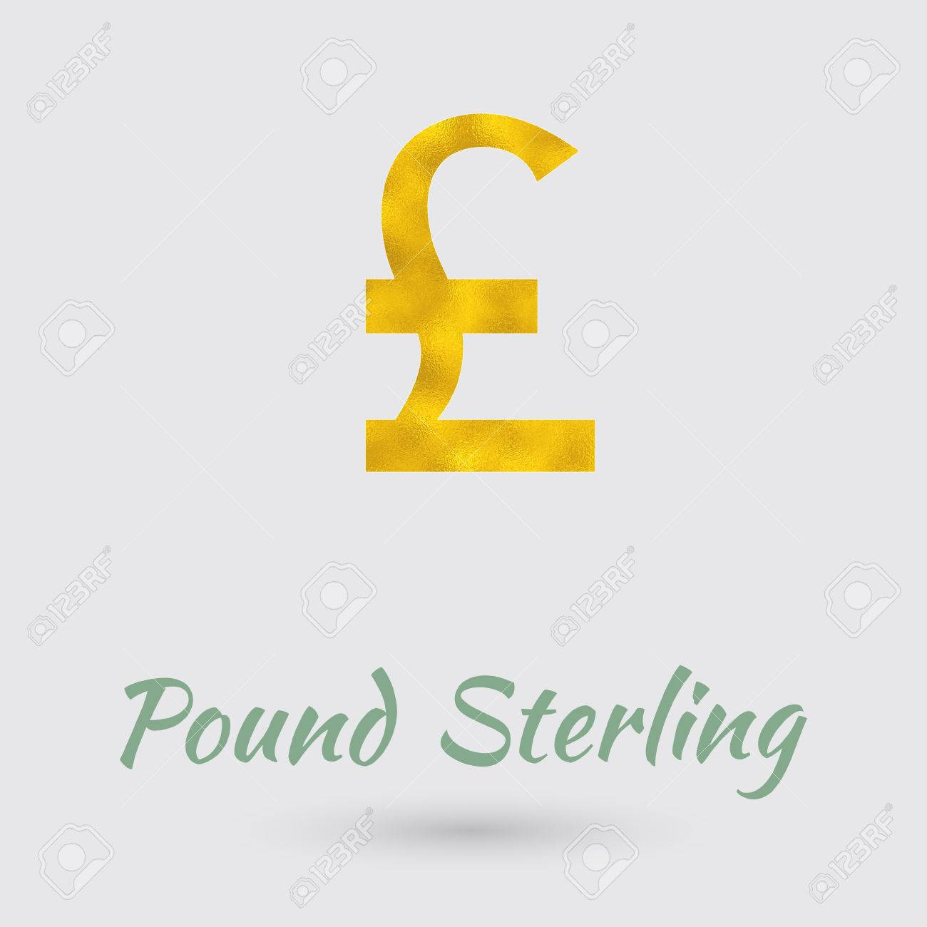 Symbol Of The Pound Sterling Currency With Golden Texture Text