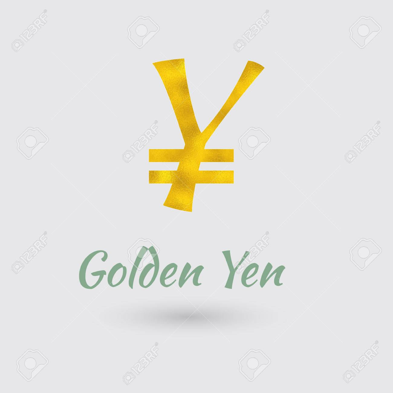 Symbol Of The Yen Currency With Golden Texture Text With The