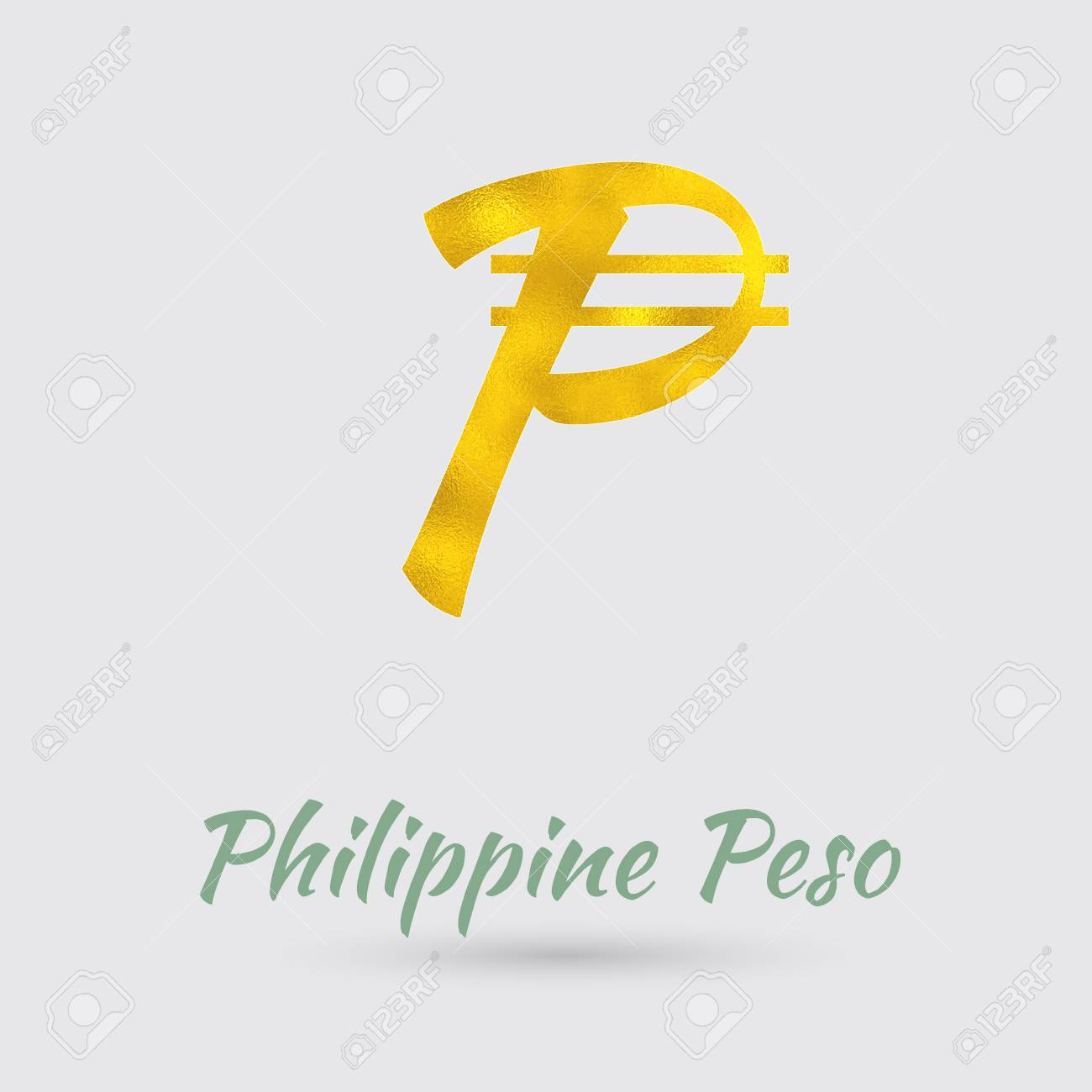 Symbol Of The Philippine Peso Currency With Golden Texture Text