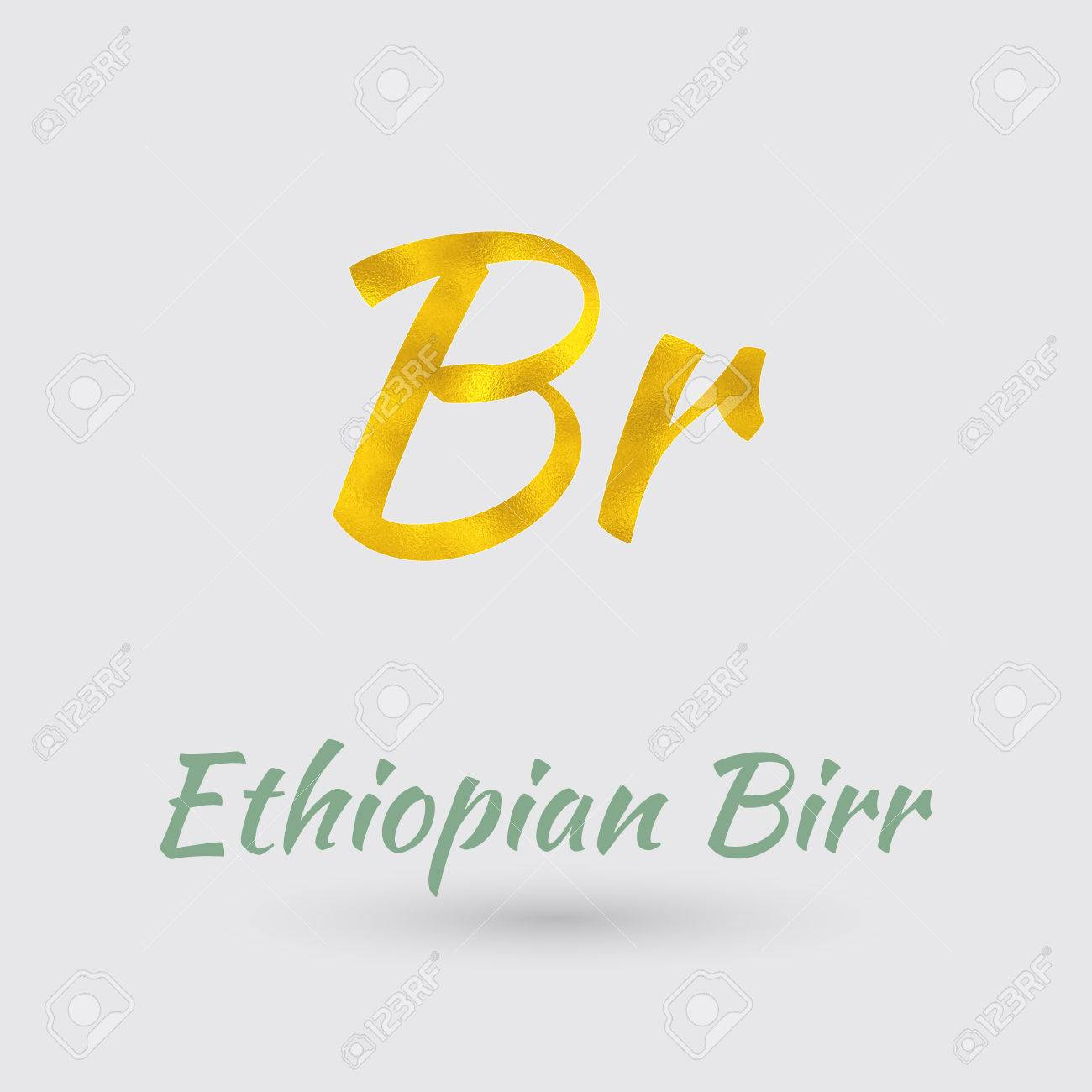Symbol Of The Ethiopia Currency With Golden Texturector Royalty