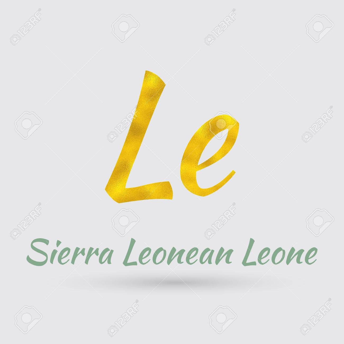 Symbol Of The Sierra Leone Currency With Golden Texturector