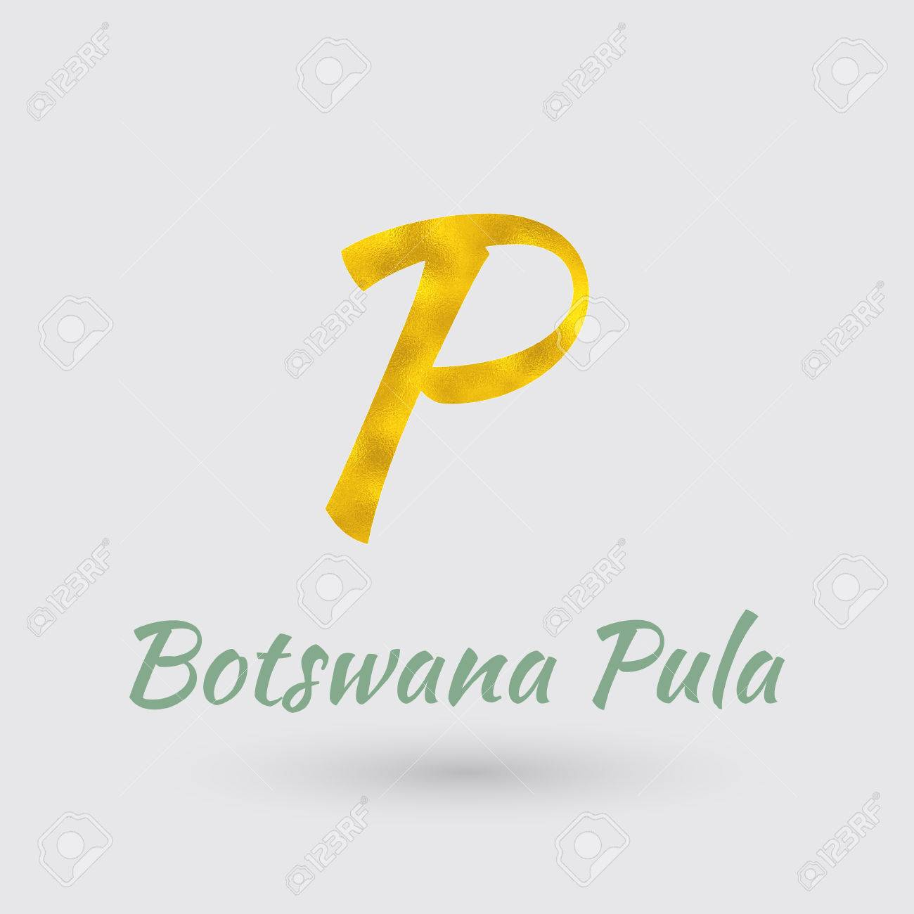 Symbol Of The Botswana Currency With Golden Texturector Royalty