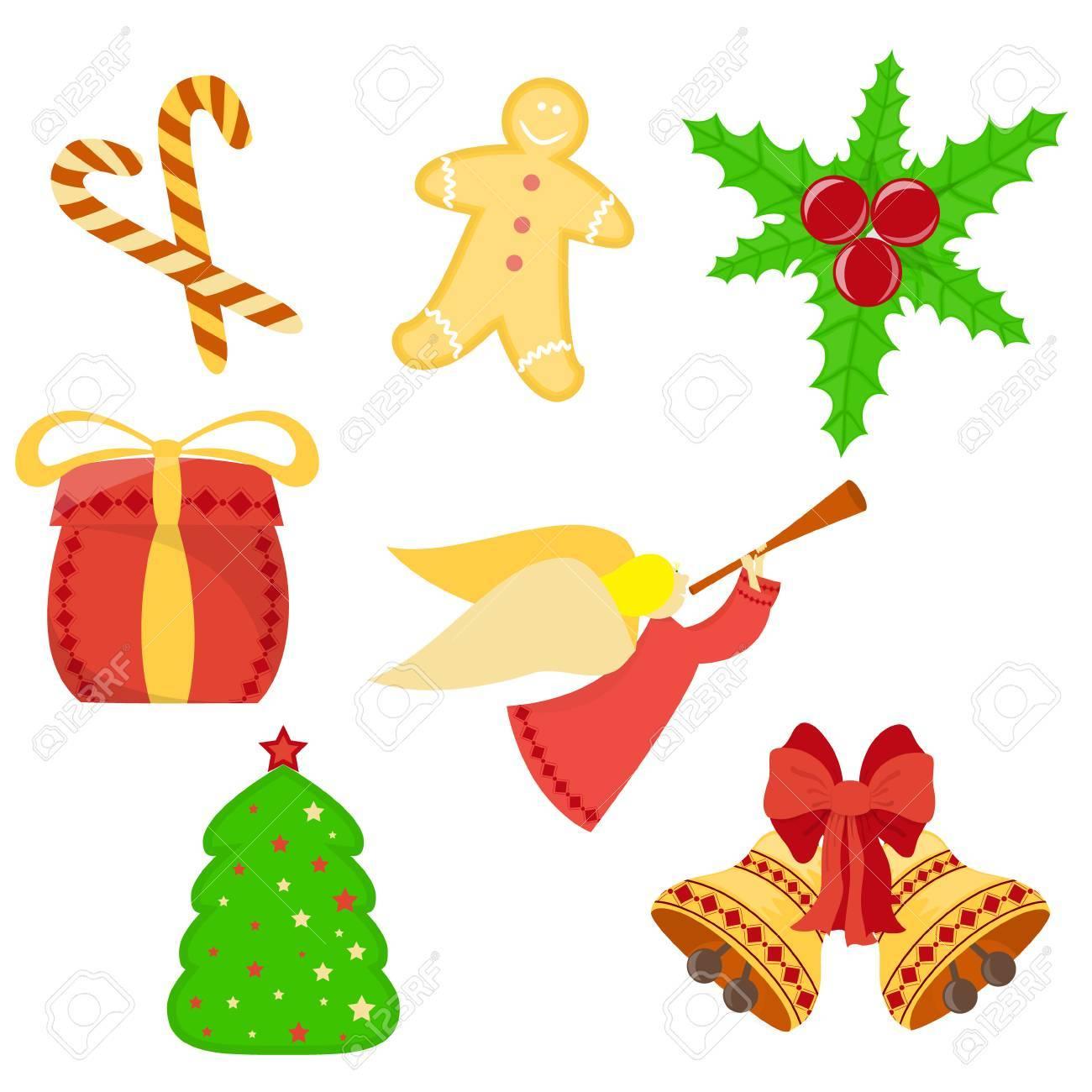 Set Von Weihnachten Und Neujahr Symbole Wie Holly Blätter Und Beeren ...