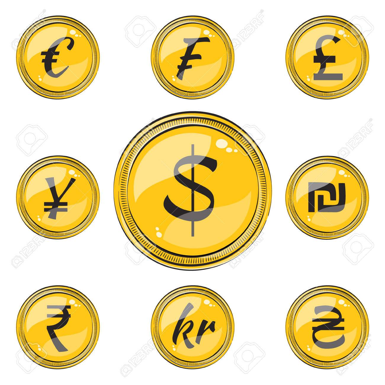 Set Of Coins With Symbols Of 9 Currencies Flat Style Icons Royalty