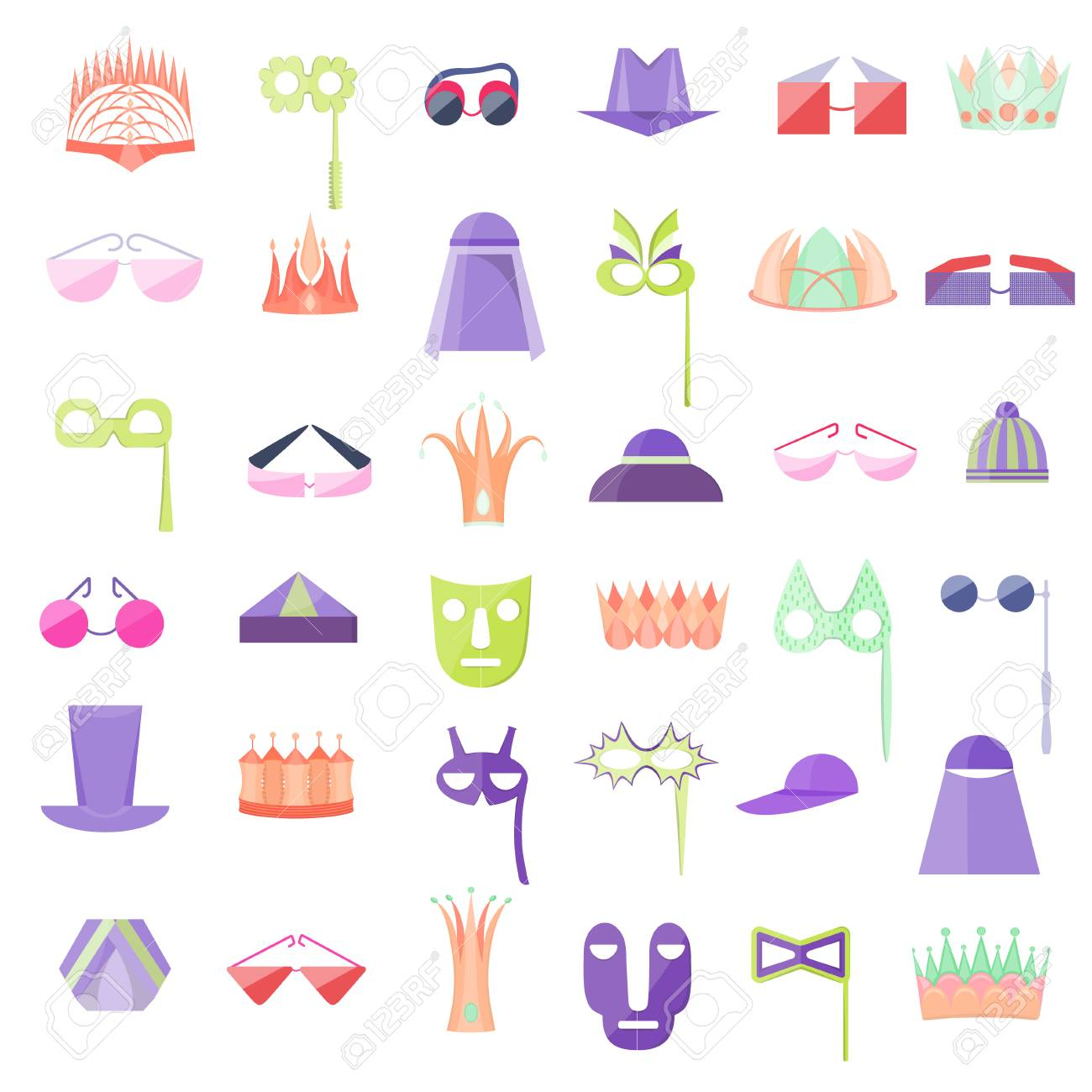 Set with Icon of Hats, Crowns, Glasses and Masks - 110643091