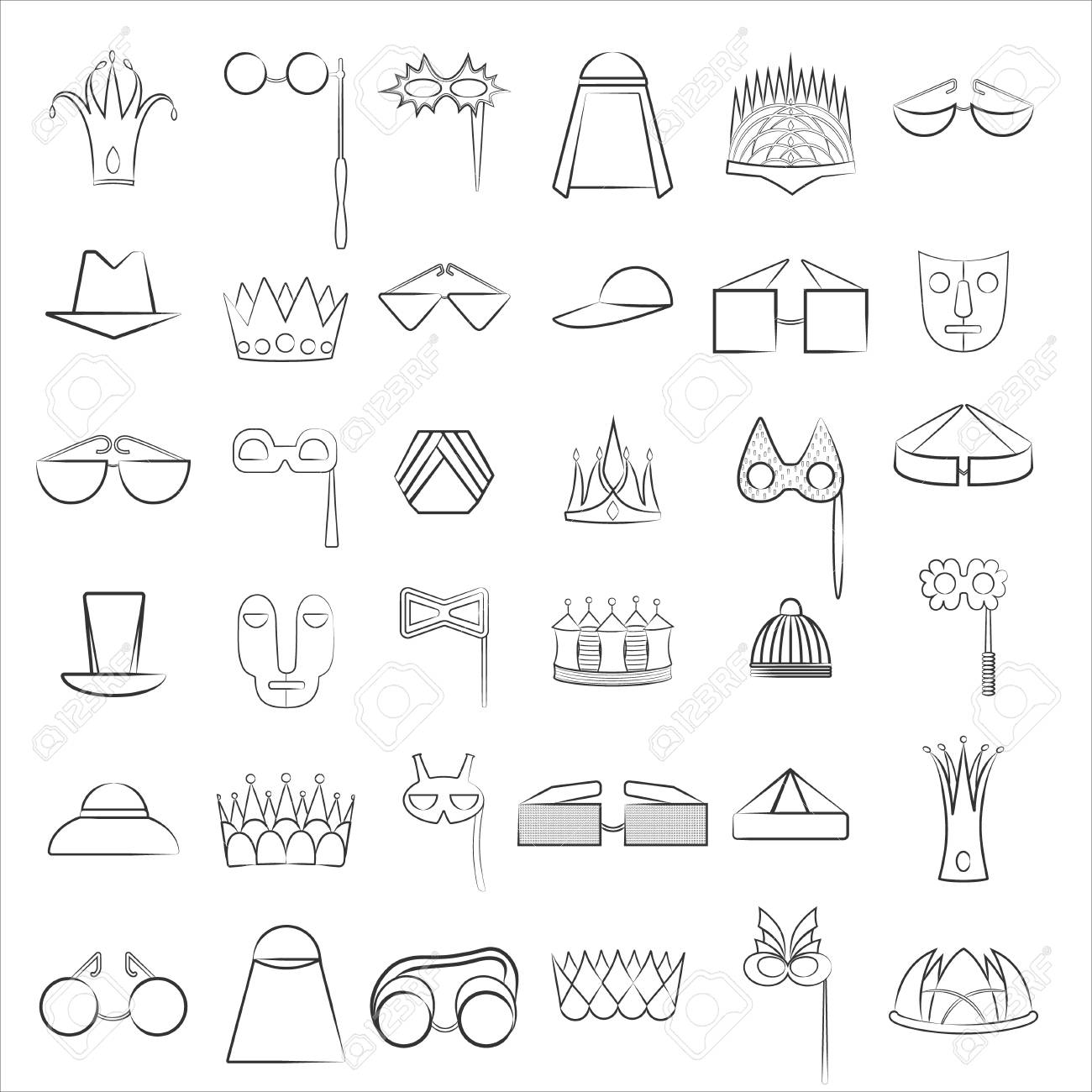Set with Lined Icons of Diverse Accessories - 110643093