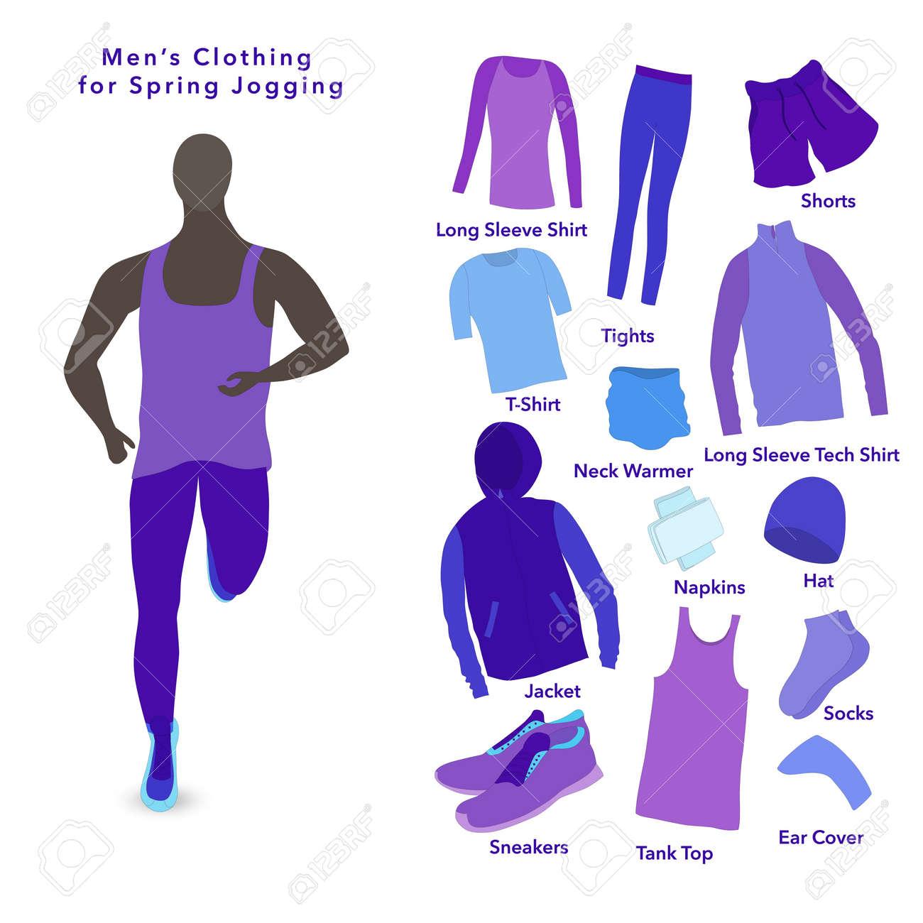 Set of Clothes for a Spring Jogging for men. - 166734464