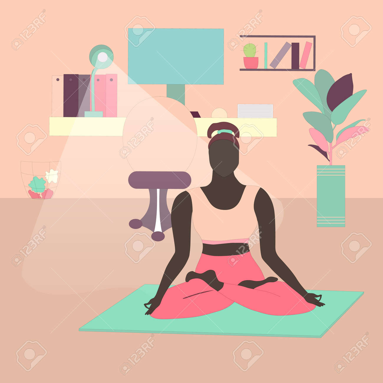 Woman Meditating In Lotus Pose at Home Office - 166734467