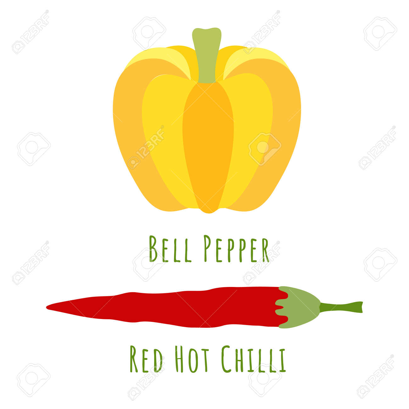 Bell pepper and red chili pepper isolated on white and made in flat style. No outlined Symmetrical shapes filled with color only. Vector illustration for product design, web and print usage. - 168336256