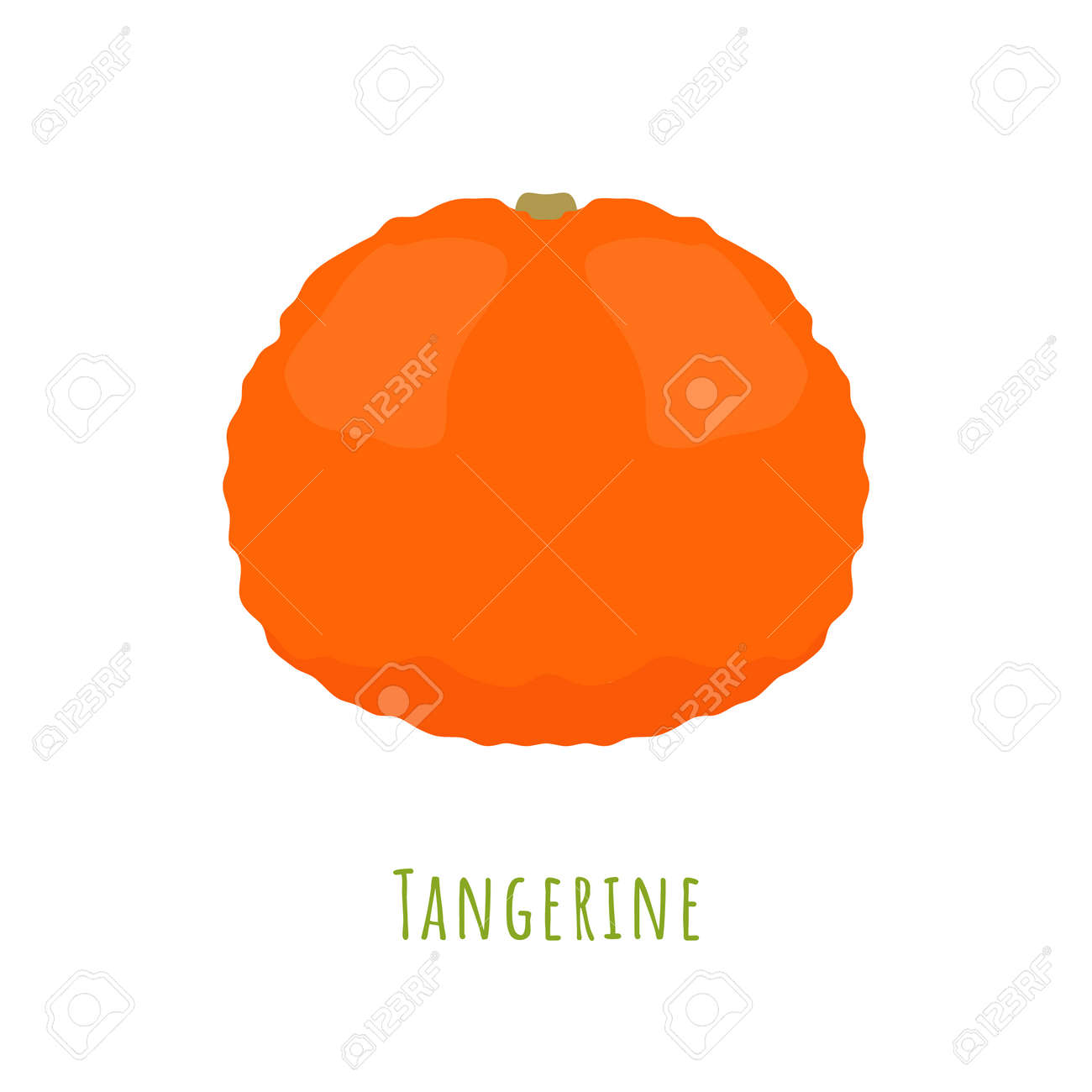 Single one tangerine fruit isolated on white, made in flat style. No outlined Symmetrical shape filled with color only. Colorful vector illustration for product design, web and print usage. - 167248345