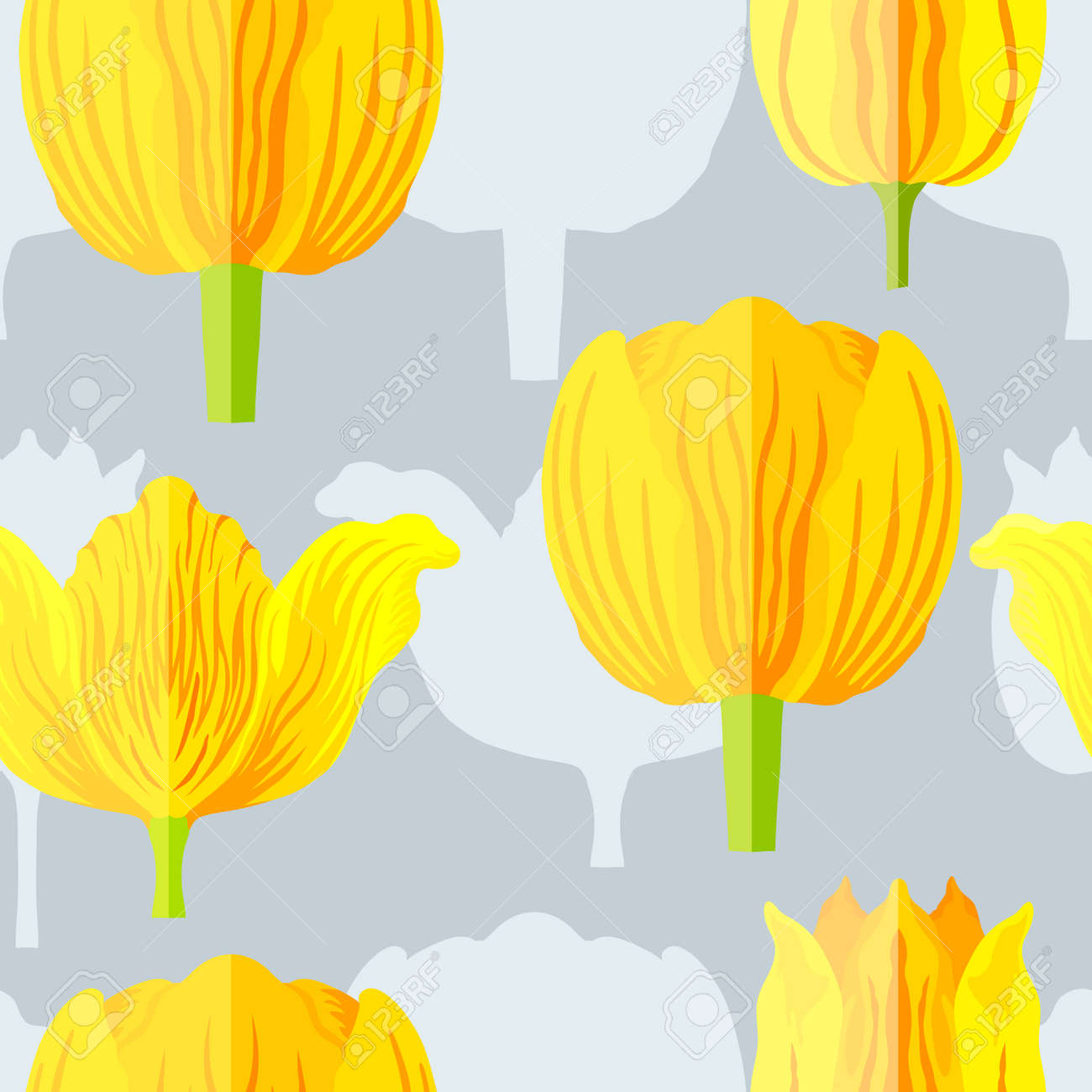 Seamless pattern with three types of yellow with orange tulips. Blue silhouettes of the same tulips on the bottom layer. Varietal tulips without leaves. Pattern for fabrics, print, web usage etc. - 168336265