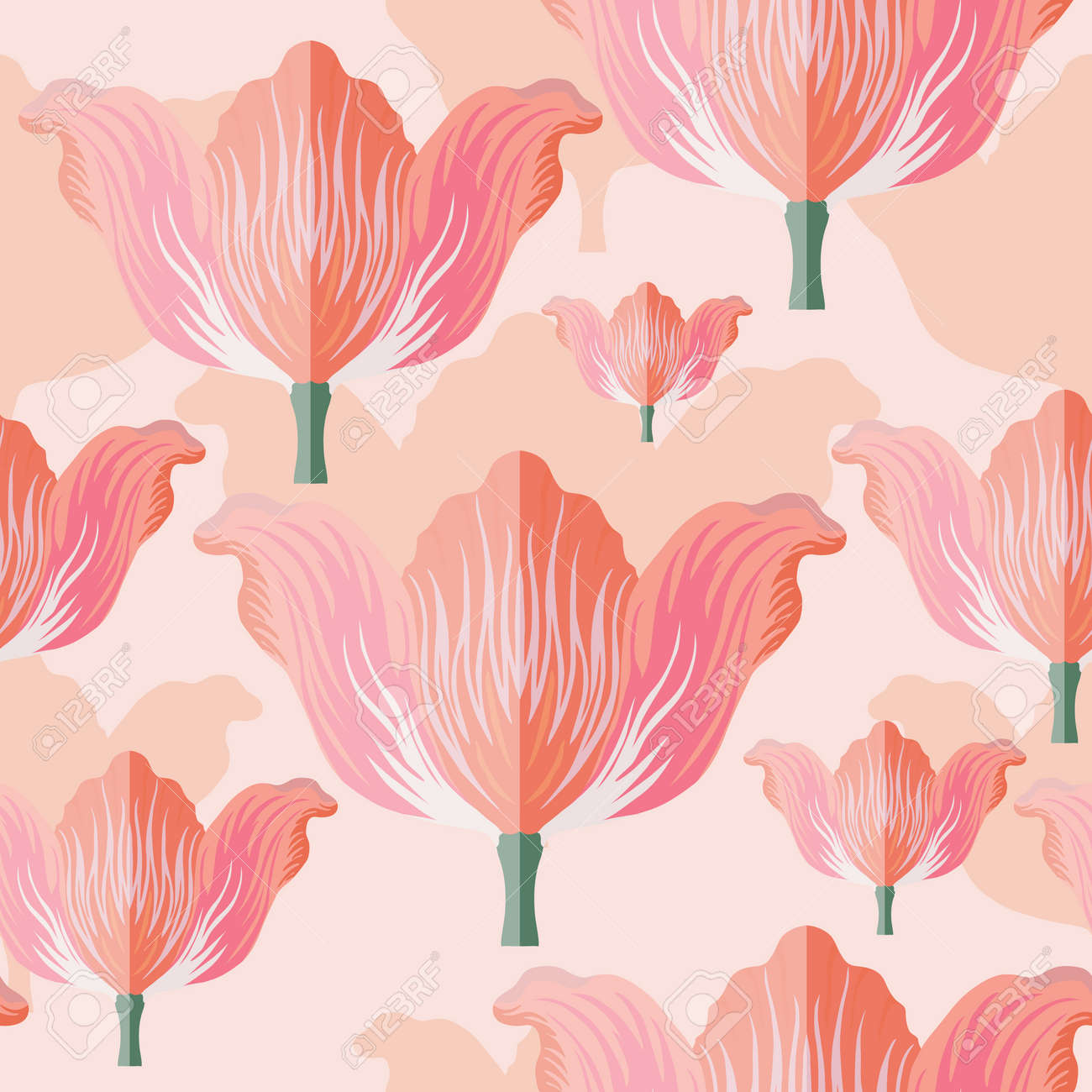 Seamless pattern with varietal pink and orange tulip. Pink silhouettes of the same tulip on the bottom layer. Symmetrical tulip without leaves. Pattern for fabrics, print, web usage etc. - 168336266