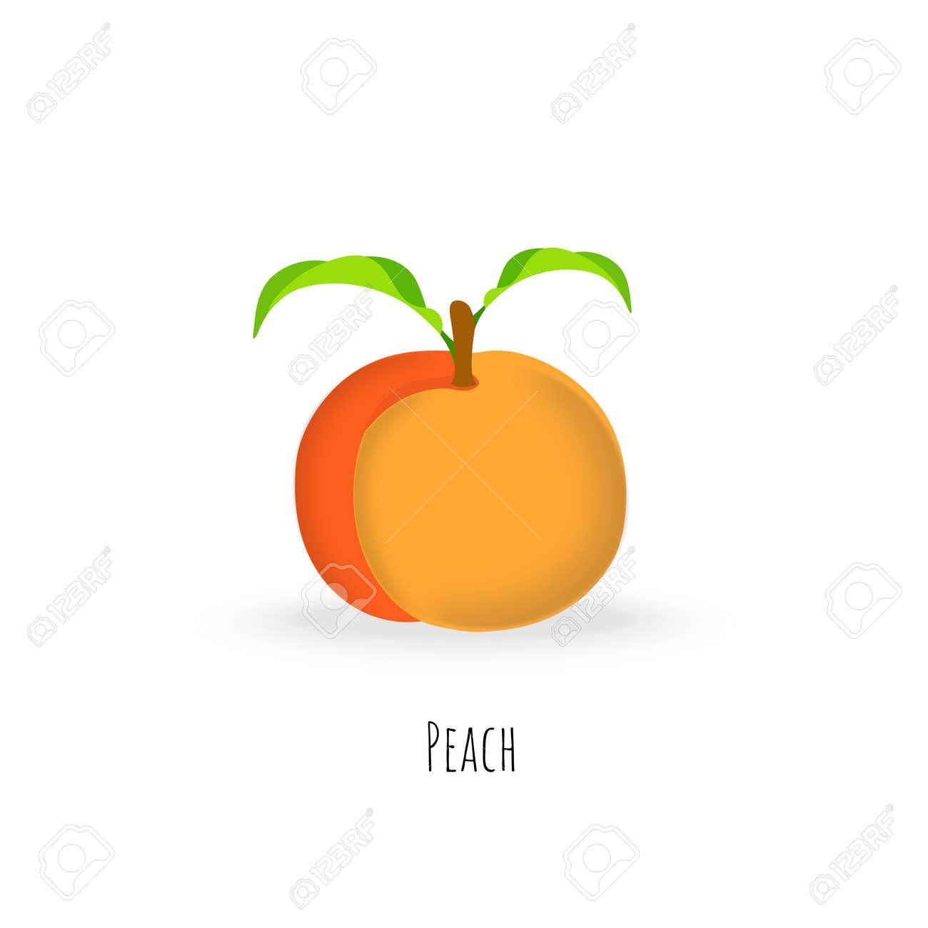 Single peach fruit isolated on white background - 168336279