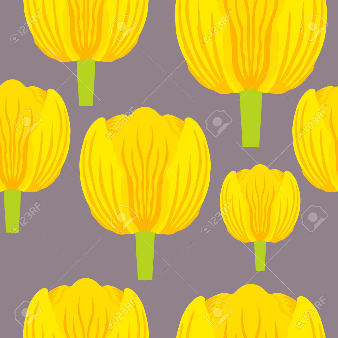 Seamless pattern with a vibrant yellow tulip - 168336282