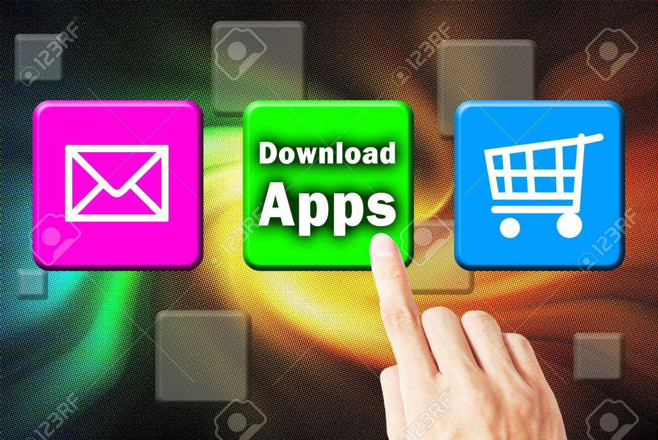 Hand touchscreen and press button download application Stock Photo - 10055990