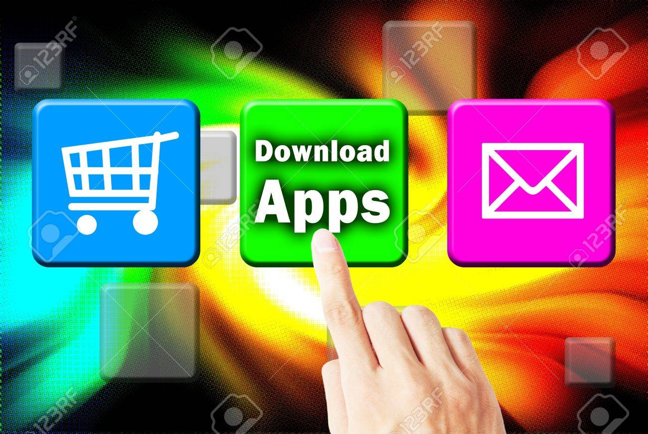 Hand touchscreen and press button download application Stock Photo - 10255402