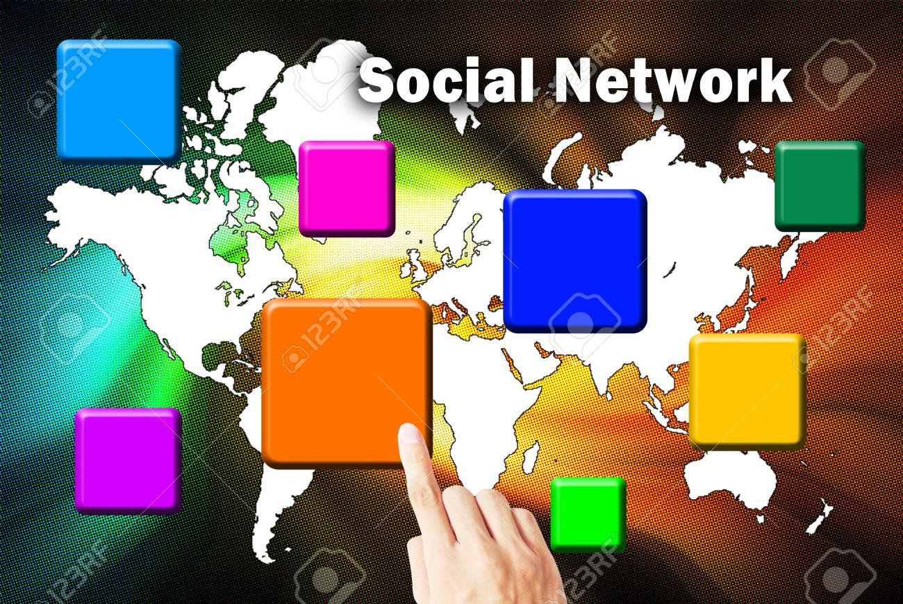 The hand is pressing the button social network Stock Photo - 10319516