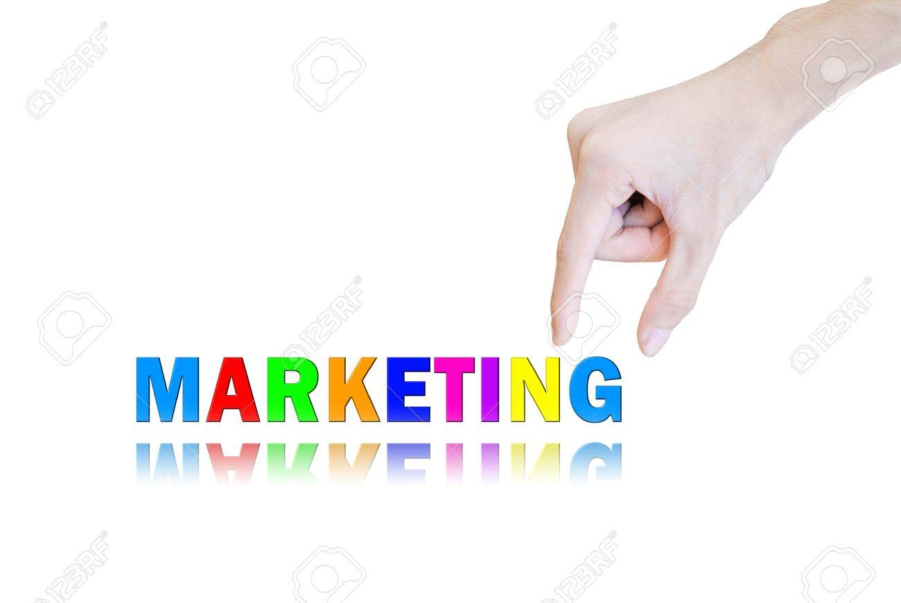 Hand pick and lift button marketing word Stock Photo - 10704329