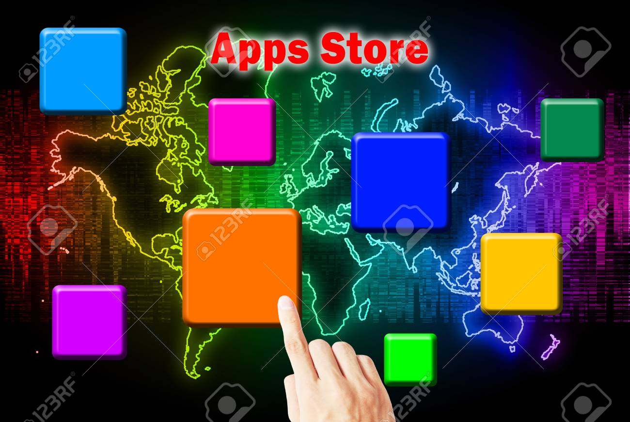 Hand Touchscreen And Press Button Download Application Stock Photo