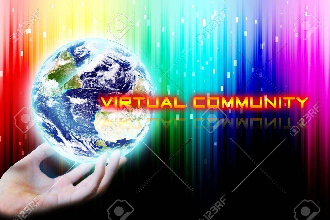 Hand Touch The Earth With Virtual Community Word Stock Photo ...