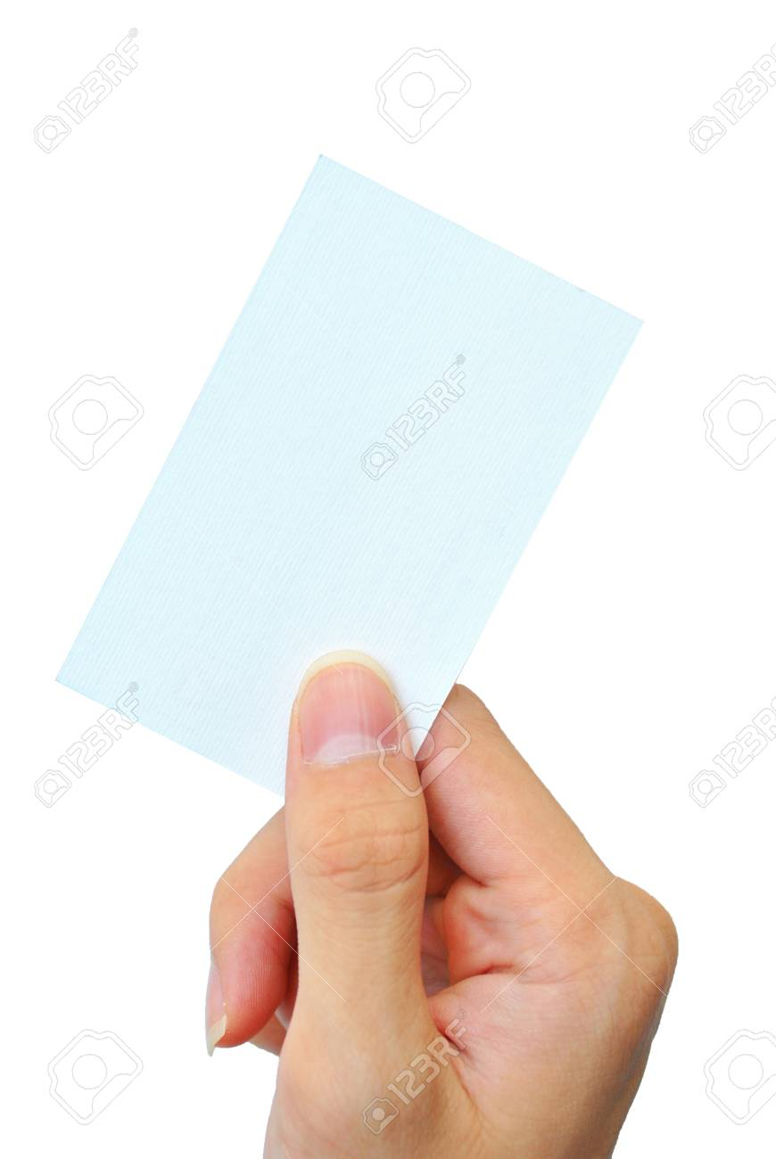 The hand is grasping the white empty name card Stock Photo - 17308421